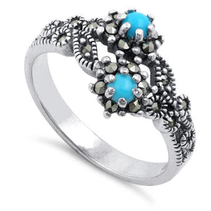 Sterling Silver Simulated Turquoise Double Flower Marcasite Ring