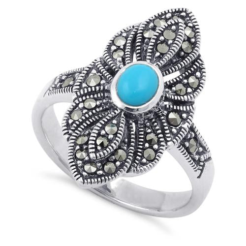 Sterling Silver Simulated Turquoise Eye Marcasite Ring