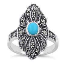 Load image into Gallery viewer, Sterling Silver Simulated Turquoise Eye Marcasite Ring