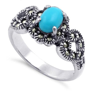 Sterling Silver Oval Simulated Turquoise Flower Hearts Marcasite Ring