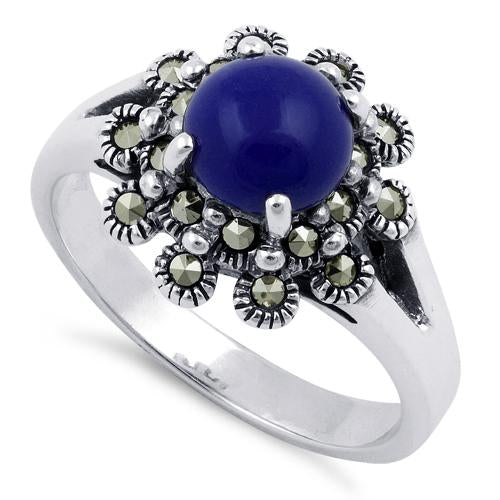 Sterling Silver Blue Lapis Flower Marcasite Ring