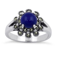 Load image into Gallery viewer, Sterling Silver Blue Lapis Flower Marcasite Ring