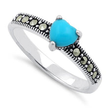 Load image into Gallery viewer, Sterling Silver Simulated Turquoise Heart Marcasite Ring