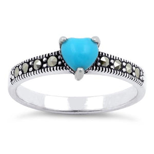 Sterling Silver Simulated Turquoise Heart Marcasite Ring