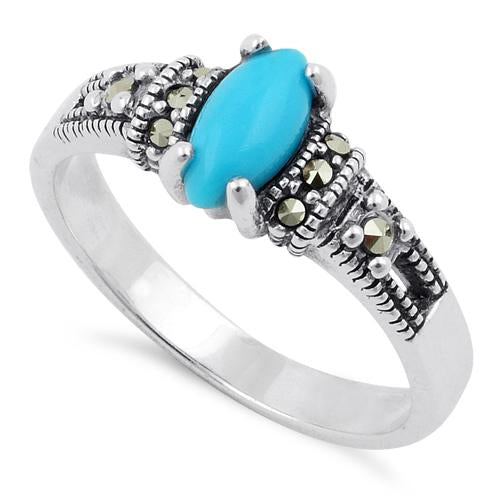 Sterling Silver Simulated Turquoise Marquise Marcasite Ring