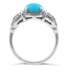 Load image into Gallery viewer, Sterling Silver Simulated Turquoise Oval Marcasite Ring