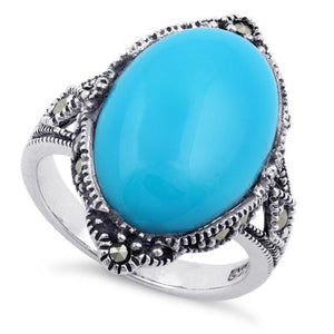 Sterling Silver Simulated Turquoise Oval Marcasite Ring