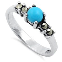 Load image into Gallery viewer, Sterling Silver Simulated Turquoise Round Marcasite Ring