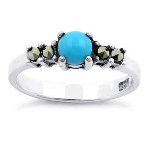 Sterling Silver Simulated Turquoise Round Marcasite Ring