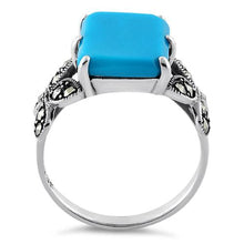 Load image into Gallery viewer, Sterling Silver Simulated Turquoise Square Butterfly Marcasite Ring