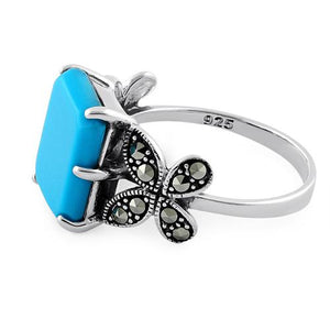 Sterling Silver Simulated Turquoise Square Butterfly Marcasite Ring