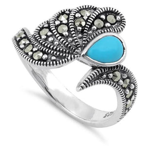 Sterling Silver Simulated Turquoise Water Drop Marcasite Ring