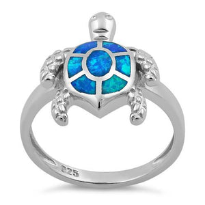 Sterling Silver Turtle Blue Lab Opal Ring