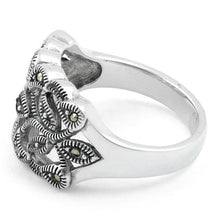 Load image into Gallery viewer, Sterling Silver Twin Butterflies Marcasite Ring