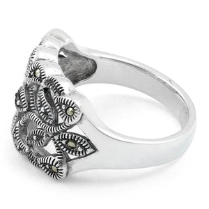 Sterling Silver Twin Butterflies Marcasite Ring