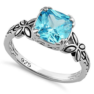 Sterling Silver Twin Butterfly Cushion Cut Aqua Blue CZ Ring