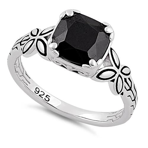 Sterling Silver Twin Butterfly Cushion Cut Black CZ Ring