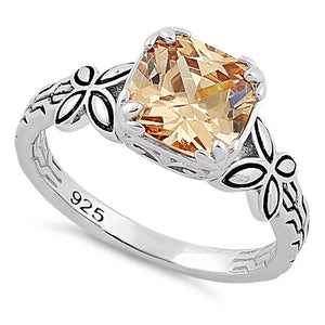 Sterling Silver Twin Butterfly Cushion Cut Champagne CZ Ring