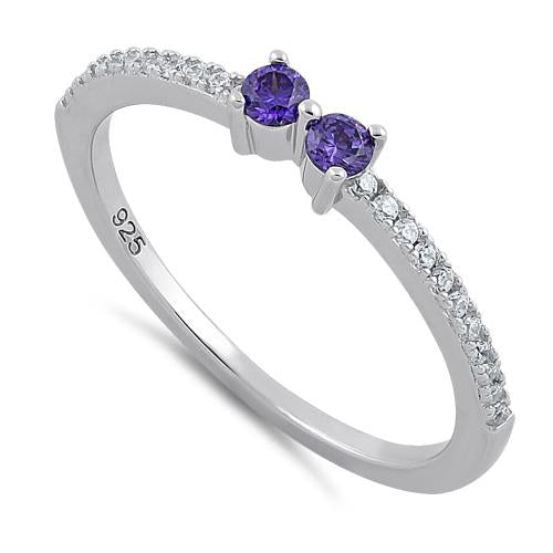 Sterling Silver Twin Round Cut Amethyst CZ Ring