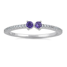 Load image into Gallery viewer, Sterling Silver Twin Round Cut Amethyst CZ Ring