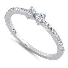 Load image into Gallery viewer, Sterling Silver Twin Round Cut Clear CZ Ring
