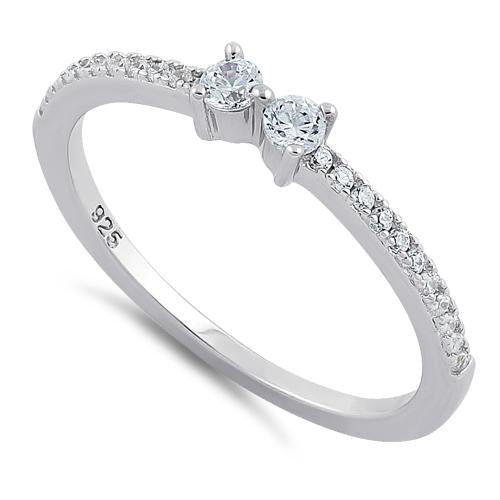 Sterling Silver Twin Round Cut Clear CZ Ring