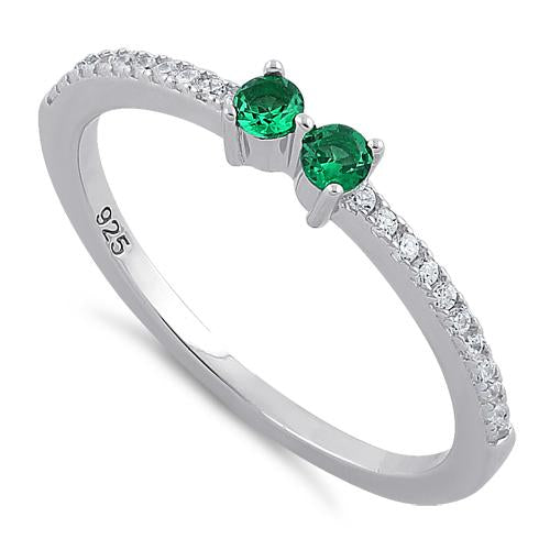 Sterling Silver Twin Round Cut Emerald CZ Ring