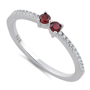 Sterling Silver Twin Round Cut Garnet CZ Ring