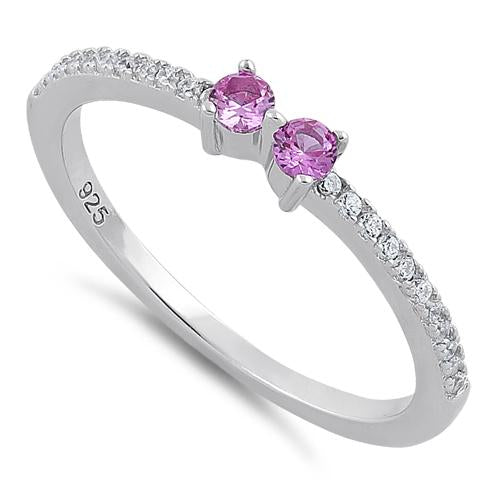 Sterling Silver Twin Round Cut Ruby CZ Ring