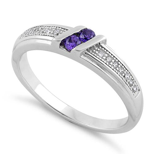 Sterling Silver Twins Amethyst CZ Ring