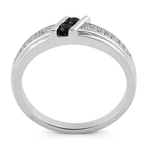 Sterling Silver Twins Black CZ Ring