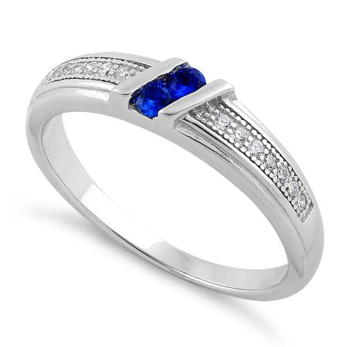 Sterling Silver Twins Blue Sapphire CZ Ring