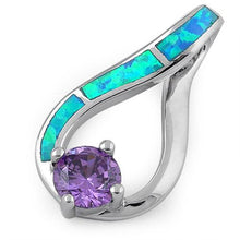 Load image into Gallery viewer, Sterling Silver Twist Blue Lab Opal & Amethyst Round Cut CZ Pendant