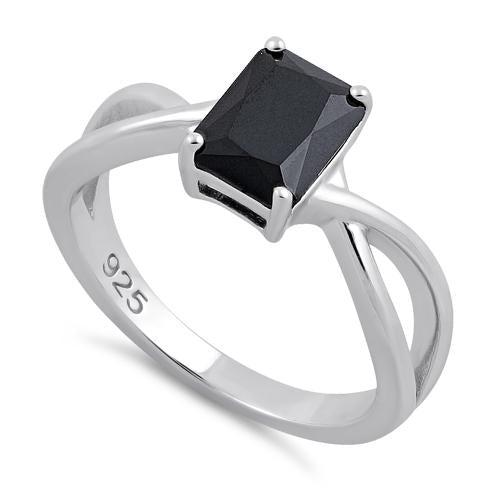 Sterling Silver Twist Emerald Cut Black CZ Ring