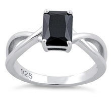 Load image into Gallery viewer, Sterling Silver Twist Emerald Cut Black CZ Ring