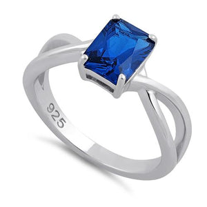 Sterling Silver Twist Emerald Cut Blue Spinel CZ Ring