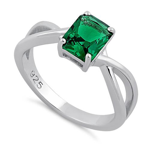 Sterling Silver Twist Emerald Cut Emerald CZ Ring