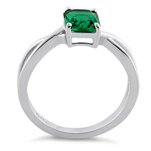 Load image into Gallery viewer, Sterling Silver Twist Emerald Cut Emerald CZ Ring