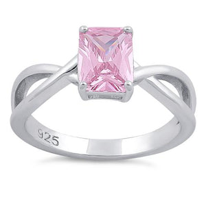 Sterling Silver Twist Emerald Cut Pink CZ Ring