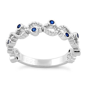 Sterling Silver Twisted Beaded Blue Sapphire CZ Ring