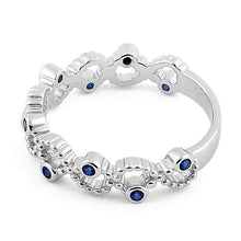 Load image into Gallery viewer, Sterling Silver Twisted Beaded Blue Sapphire CZ Ring