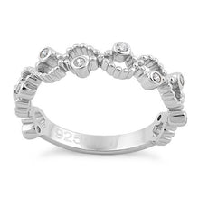Load image into Gallery viewer, Sterling Silver Twisted Beaded Clear CZ Ring