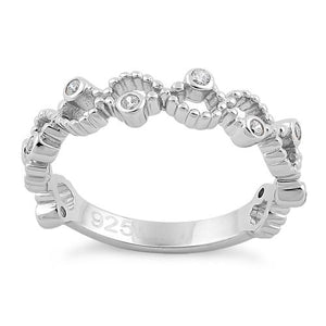 Sterling Silver Twisted Beaded Clear CZ Ring