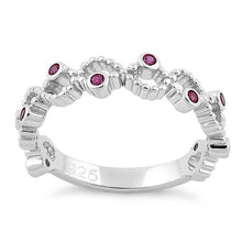 Load image into Gallery viewer, Sterling Silver Twisted Beaded Ruby CZ Ring