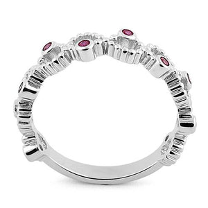 Sterling Silver Twisted Beaded Ruby CZ Ring