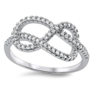Sterling Silver Twisted Infinity CZ Ring