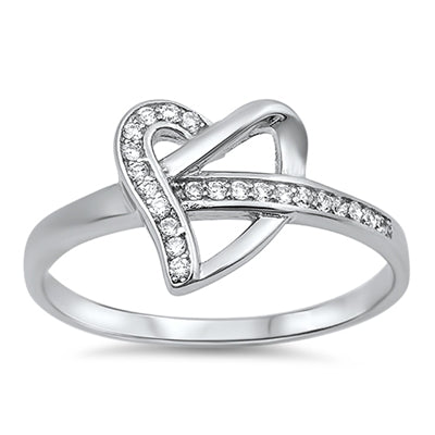 Sterling Silver Twisted Heart CZ Ring