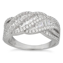 Load image into Gallery viewer, Sterling Silver Twisted Pave CZ Ring