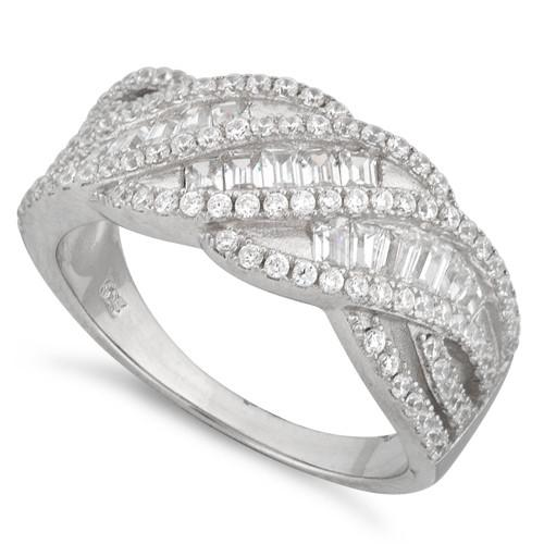 Sterling Silver Twisted Pave CZ Ring