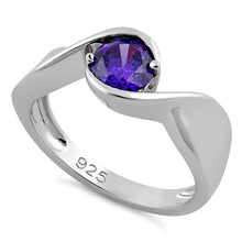 Load image into Gallery viewer, Sterling Silver Twisted Round Amethyst CZ Ring